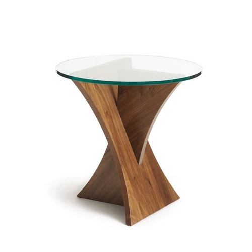 Planes Round End Table in Walnut by Copeland Furniture at the Artful Lodger in Charlottesville, VA
