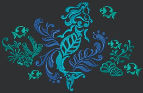 Damask Mermaid Messenger Bag