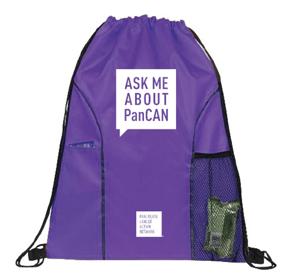 Pancreatic Cancer Awareness Drawstring Backpack -Ask Me About PanCAN