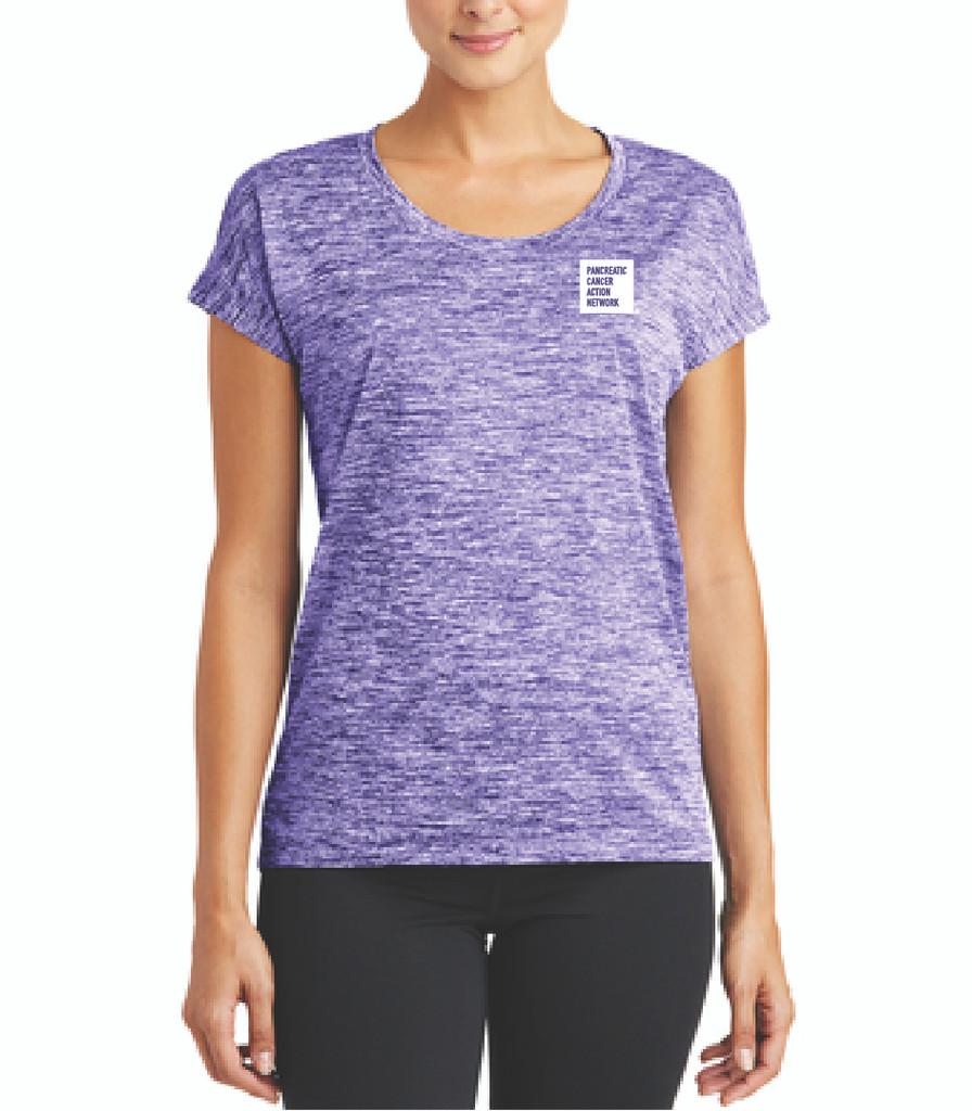 Pancreatic Cancer Awareness Ladies Purple Heather Sporty Tee