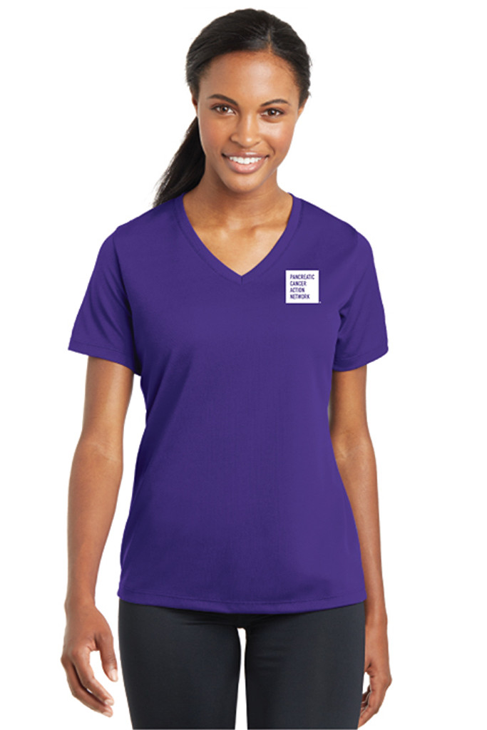 Pancreatic Cancer Awareness Purple RacerMesh V-Neck - Ladies