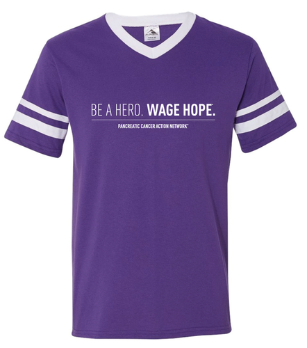 Pancreatic Cancer Awareness Be A Hero Striped Jersey T-Shirt/Unisex/For Her