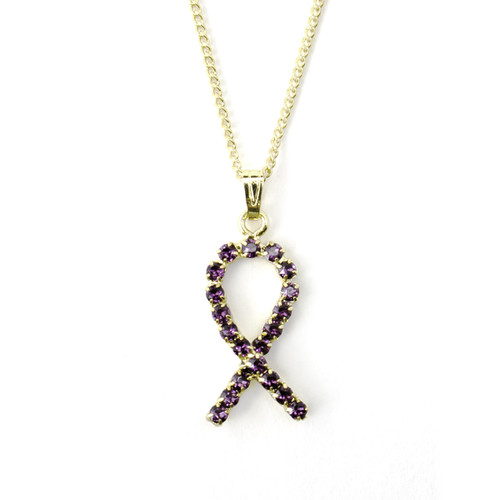 Pancreatic Cancer Awareness Crystal Ribbon Necklace