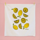 playful lemons tea towel