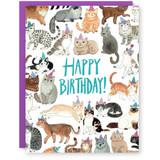 happy birthday cat in hats card