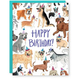 happy birthday dog in hats card