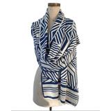 camelia wrap | indigo + cream