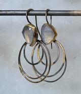 ripple rim earrings with moonstone