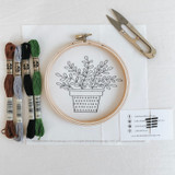 do-it-yourself embroidery kit, potted plant