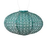 soji stella oval solar lantern, metallic emerald