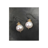 pearl wrapped with gold + labradorite earring