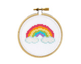 mini rainbow DIY cross stitch kit