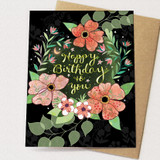 starry flowers happy birthday card