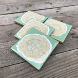 geode coaster set / sea foam