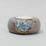 aquamarine + cement  tealight holder