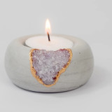 amethyst + cement tealight holder
