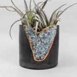 """aquamarine + cement 3"""" planter"""