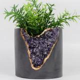 "amethyst + cement  5"" planter"