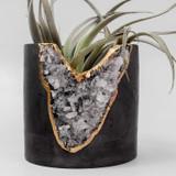"""rose quartz + cement  4"""" planter"""