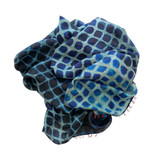 shibori blues silk scarf