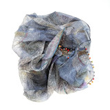 wavy blues cotton silk scarf