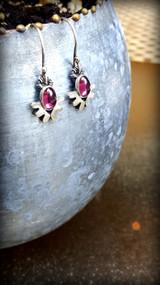 pink tourmaline angel earrings