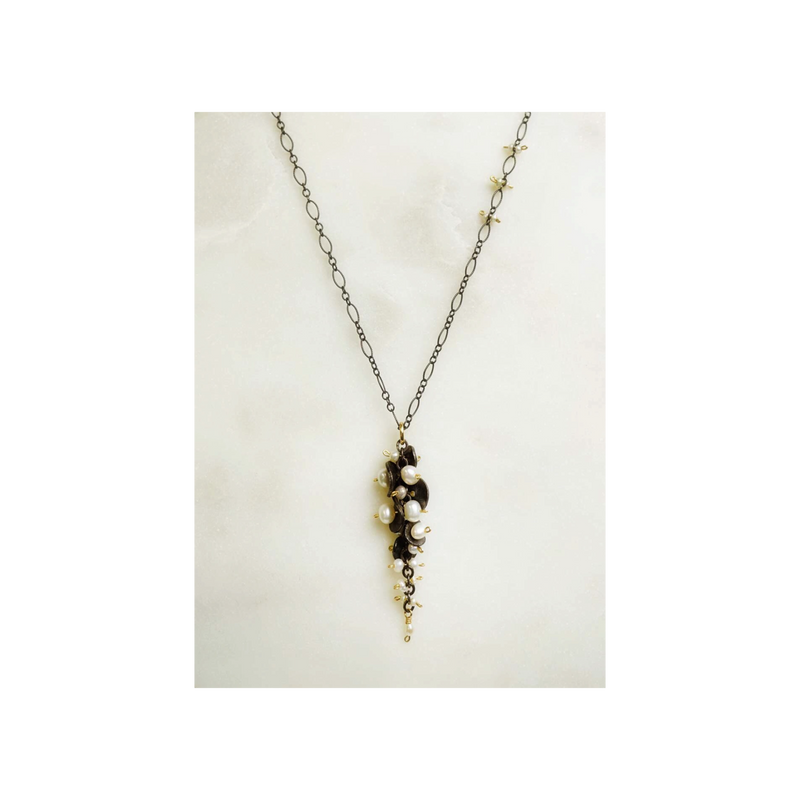 cascading pearl cluster necklace