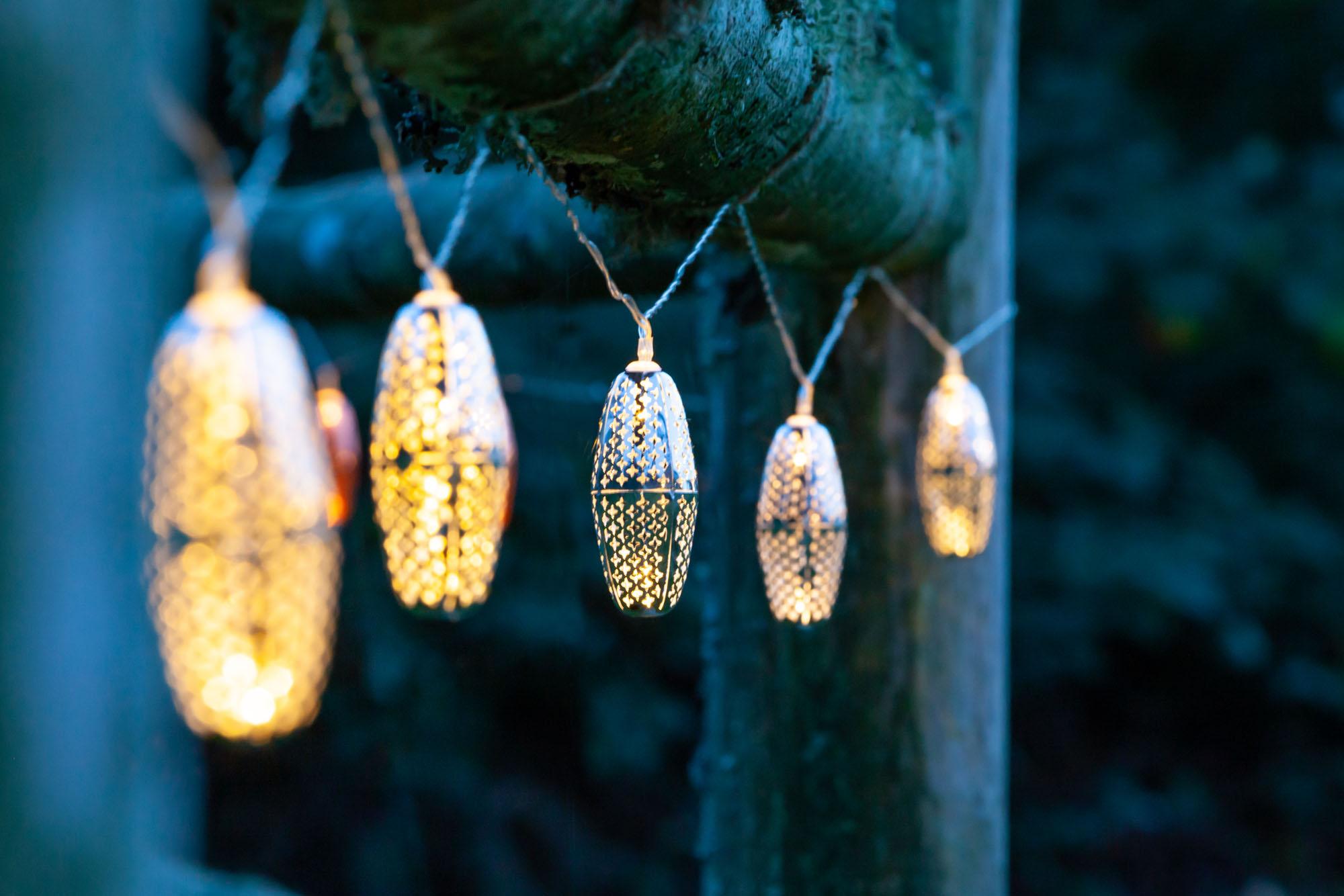 solar stringed lights, marrakesh metal, silver stars