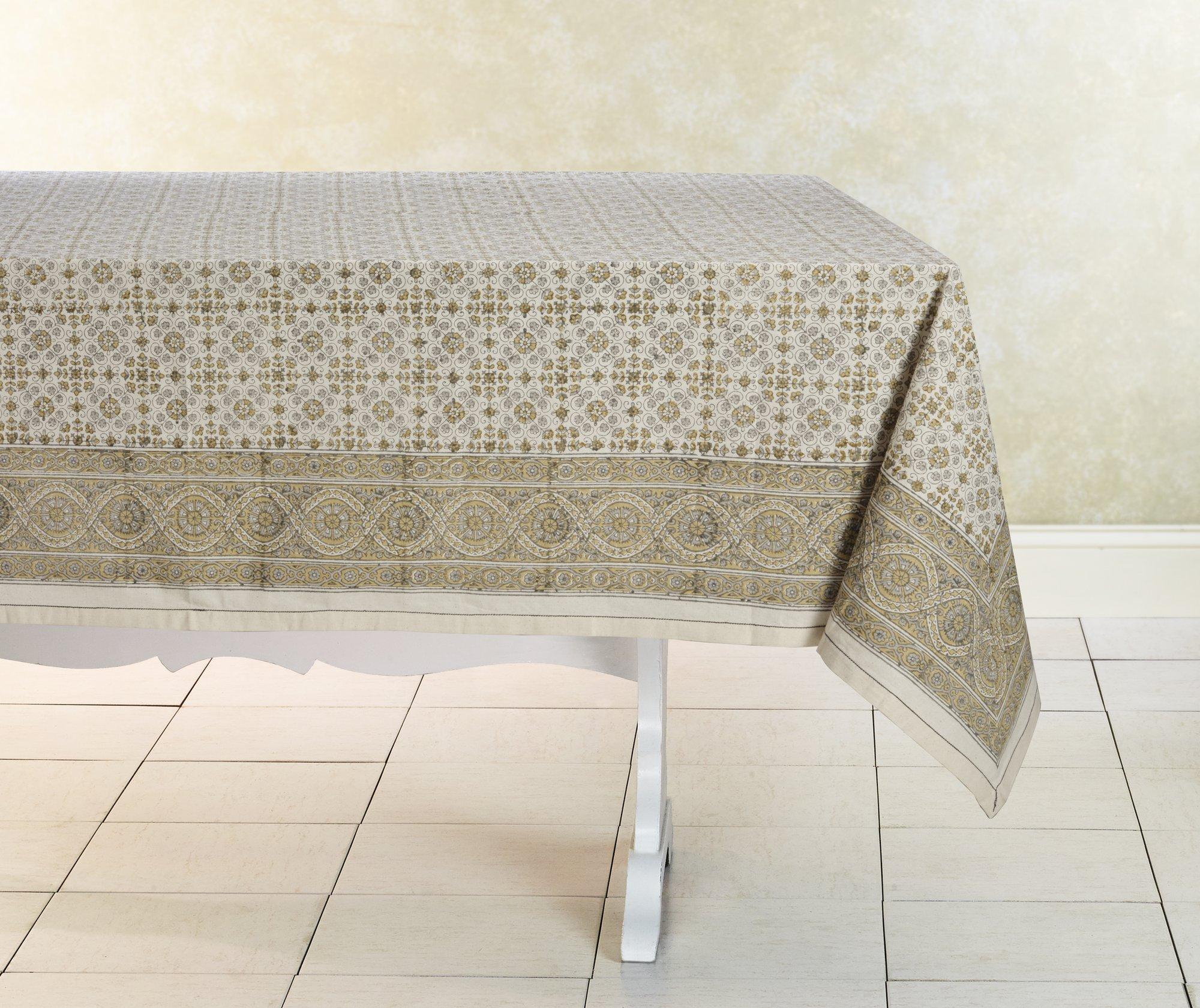 block print tablecloth, lily