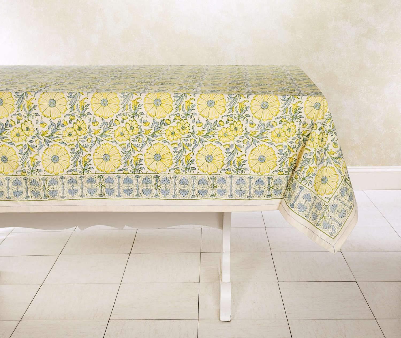 block print tablecloth, wheat bloom