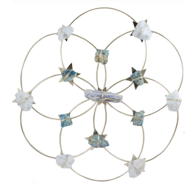 tranquility blues flower of life crystal  grid