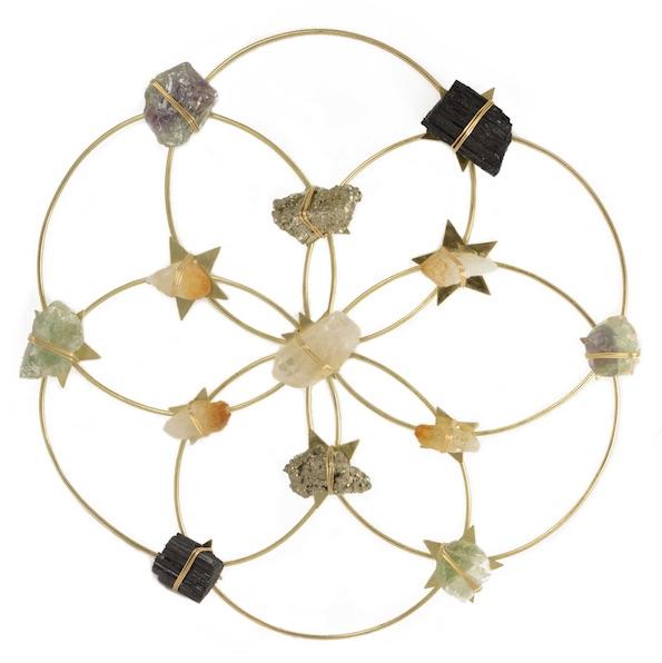 flower of life healing crystal grid
