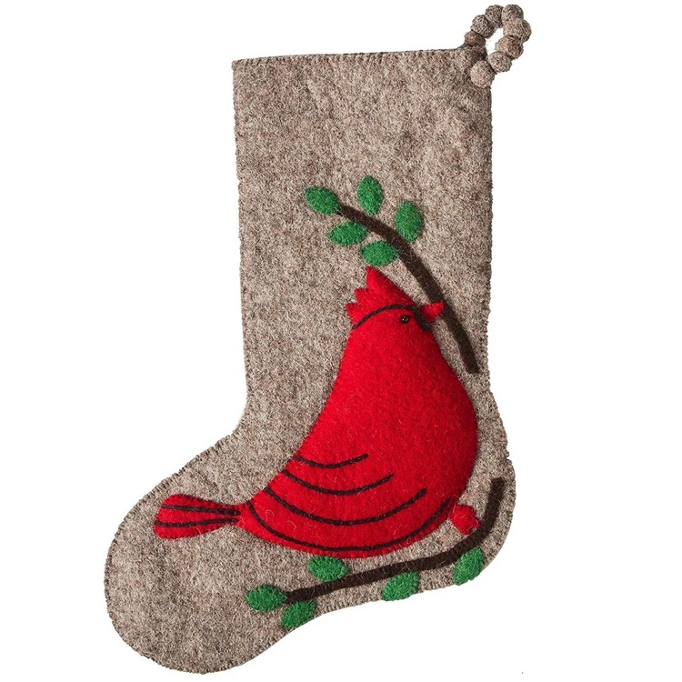 cardinal  Christmas stocking