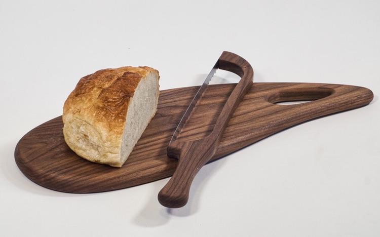 walnut  board + bread bow knife