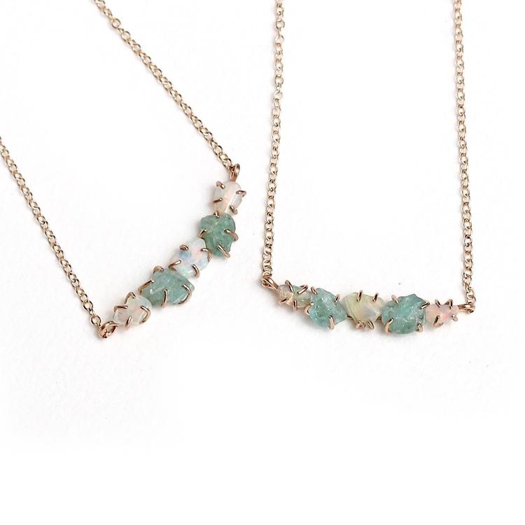 apatite + opal row necklace