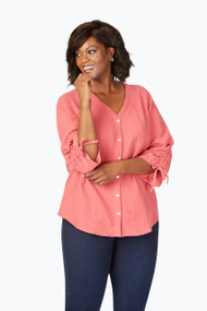 Marley Plus Double-Faced Gauze 3/4 Sleeve Blouse