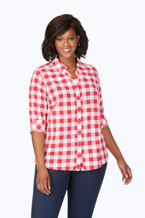 Dara Plus Relaxed Fit Gingham Tunic