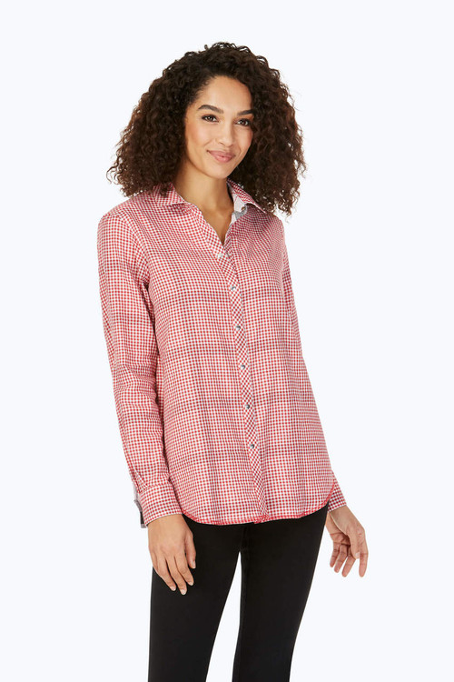 Rhea Petite Reversible Red Plaid Shirt