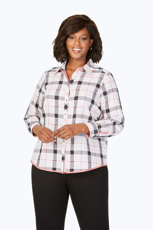 Rhea Plus Reversible Red Plaid Shirt