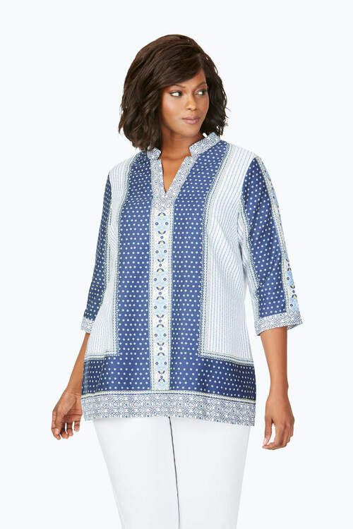 Angelica Plus Wrinkle-Free Scarf Print Tunic