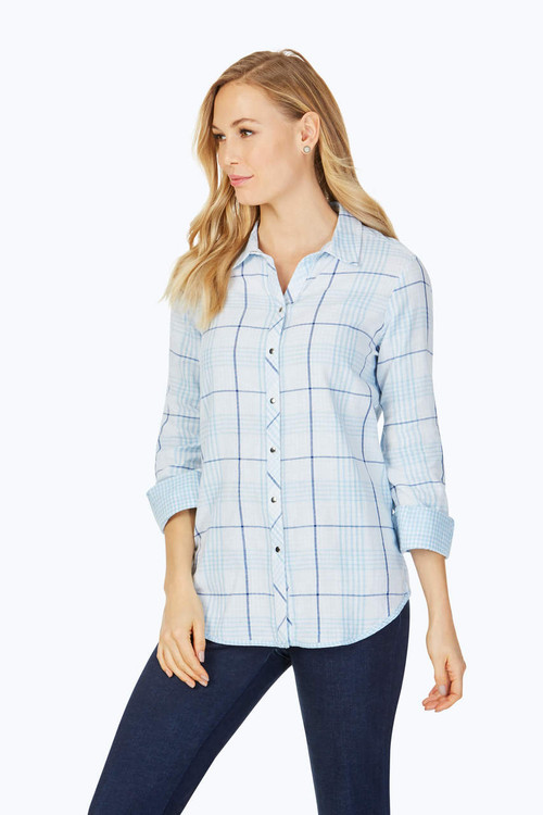Rhea Petite Reversible Blue Plaid Shirt