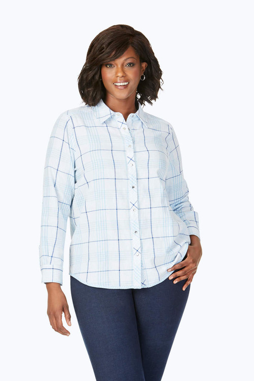 Rhea Plus Reversible Blue Plaid Shirt