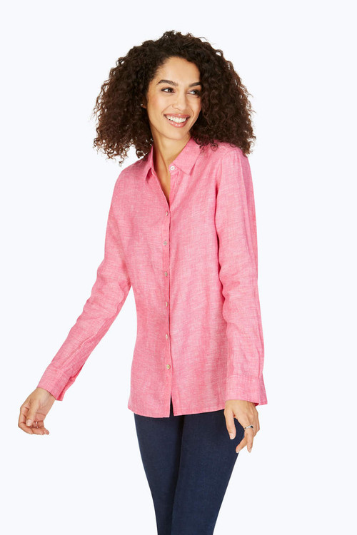 Journey Petite Relaxed Fit Linen Shirt