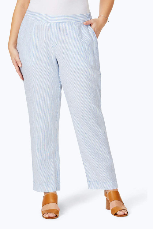 Livingston Plus Stripe Linen Pant