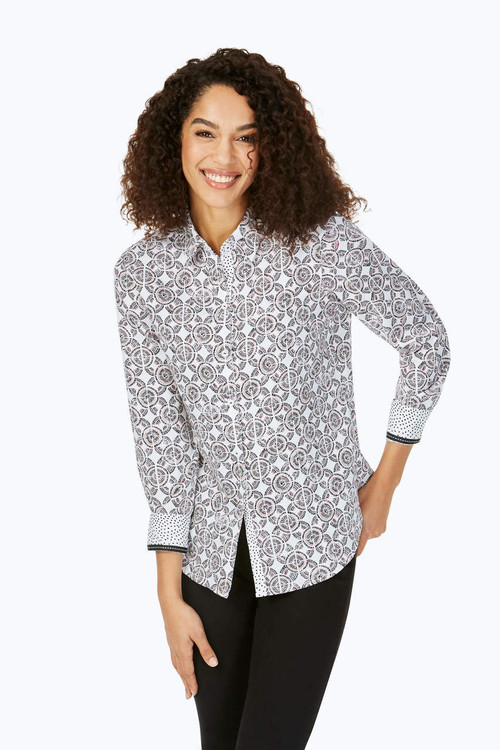 Ava Petite Wrinkle-Free Spanish Tile Shirt