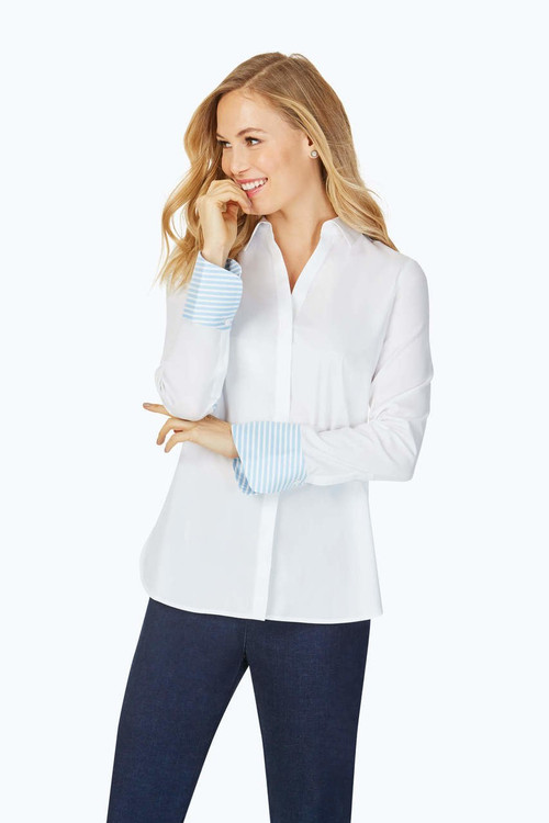 Kyla Stretch Non-Iron Blue Stripe Shirt