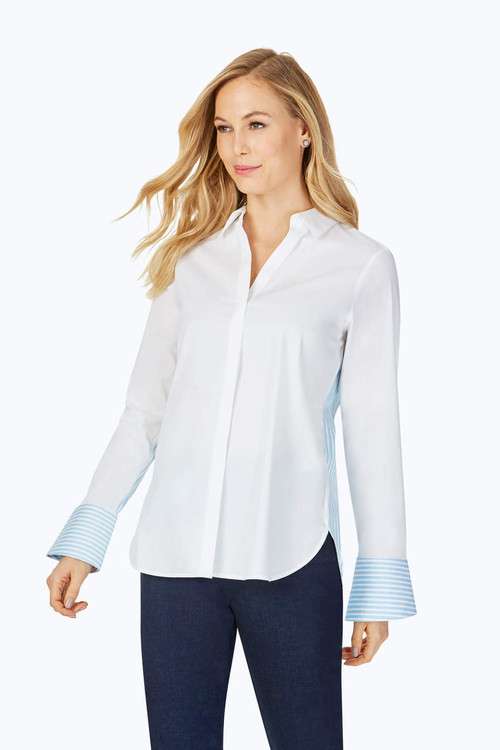 Kyla Petite Stretch Non-Iron Blue Stripe Shirt