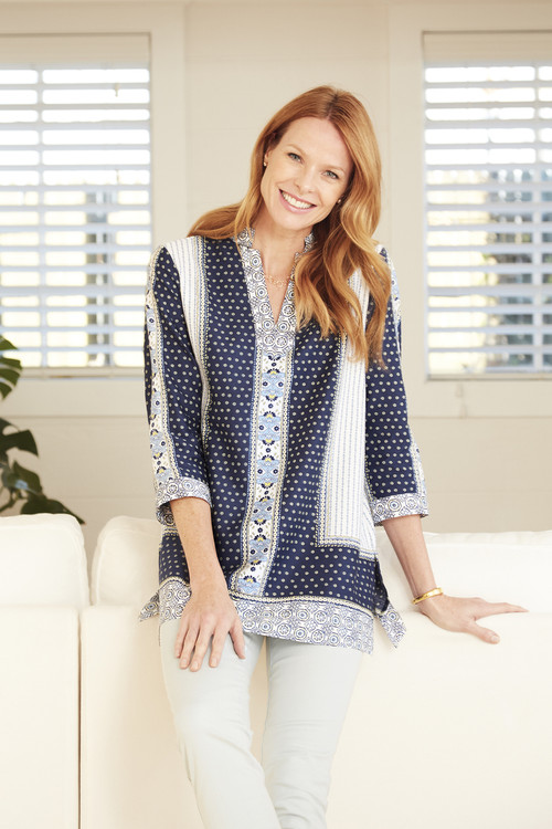 Angelica Wrinkle-Free Scarf Print Tunic