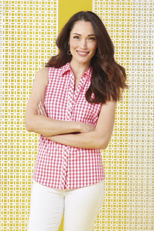 Elisa Non-Iron Sweet Gingham Sleeveless Shirt