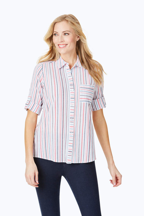 Zen Crinkle Multi-Stripe Shirt